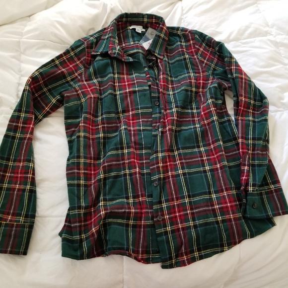 L L Bean Tops Ll Bean Womens Red Green Plaid Flannel Shirt Poshmark